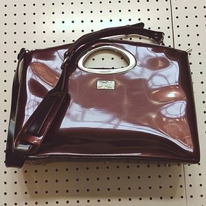 Beijo Patent Leather Brown Purse